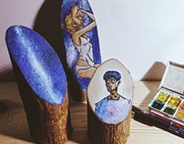 Universe; hand painted wood