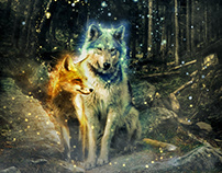 fox and wolf - love without borders