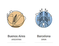 Ilustración icónica representativa para sedes
