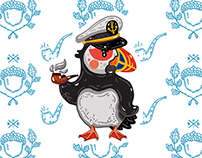 "Сard set ""Puffins"". Coloring book. Book characters."