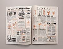 Victorian tabloid newspaper for Le Bathyscaphe bar.