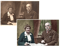 Colorisation of a photograph of a couple
