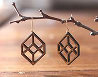 Lasercut Wooden Cube Earrings