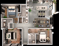 3 Bedroom 3D Floorplan Architectural 3D Apps