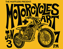 Motorcycles + Art event poster
