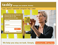 Taskly Project Management App Landing Page
