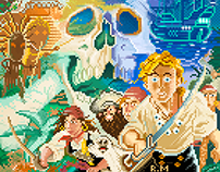 LucasFilm adventure cover arts in Pixelart style