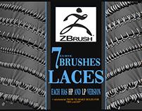 7 Laces ZBrush curve brushes on Artstation store