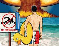 Swimming with Debré illustration, craft beer design