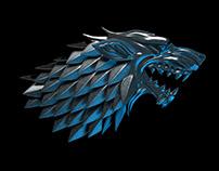 """Game of thrones"" wolf ember - 3D model, fan art."