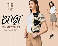Female classic t-shirt mockup with fashion model