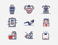 Exercise Line Color icon - Stay healthy