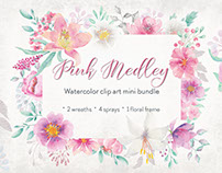 Pink Medley: watercolor minibundle