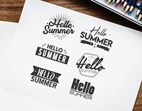 Free Hello Summer Banner Vector Set