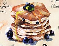 Recipe Illustration for Blueberry pancakes