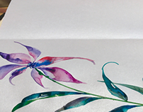 Flowers painted with an automatic  pen