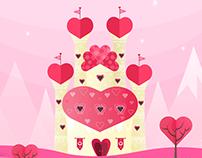 Valentine's Day Card Design - Castle of Hearts