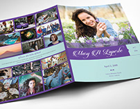 Remember Purple Teal Funeral Program Word