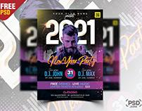 2021 New Year Party Celebration Flyer PSD
