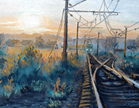 """Evening train"". Pastel. 42*30 cm."
