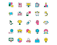 Mentoring And Training Icons Set