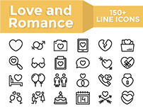 Love and Romance Flat Line icons, 150 Items