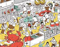阿霞飯店包裝插畫 Tainan A-Sha Packaging Illustration