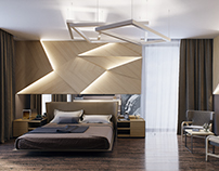 Visualization of 2 bedrooms in contemporary style