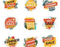 Flat Design Origami Summer Sale Labels