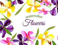 Collection of floral patterns in watercolor
