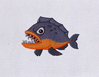 DANGEROUS PIRANHA FISH EMBROIDERY DESIGN