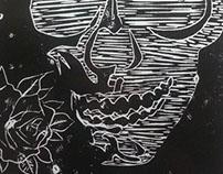 Engraving on linoleum, Skull