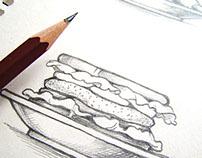 Food and drinks. Sketch illustration