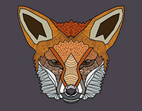 Wild fox, consisting of geometric shapes and lines