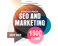 SEO and Marketing Flat Icons Bundle, 1500 Icons