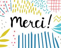"""Carte """"Merci!"""", Sélène et Gaïa"""