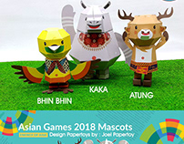 ASIAN GAMES 2018 MASCOT PAPERTOYS - BHINBHIN,ATUNG,KAKA