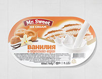 Label design for Mr.Sweet ice creams.