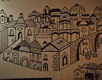 MURAL ALDEA BRETONIA Ilustración blanco y negro