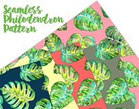 Seamless Watercolor Philodendron Pattern