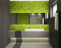 Brown and beige bathroom with MOSS #ceramicaVOGUE #MOSS