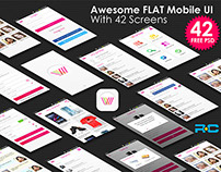 Awesome FLAT Mobile UI With 42 Screens