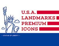 USA landmark premium icons / illustrations