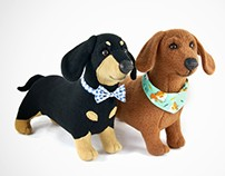 Dachshunds - handmade plush art toys