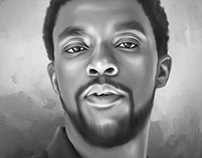 Chadwick Boseman Digital Painting by Wayne Flint