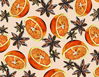 Orange and Star Anise Christmas Spice Pattern