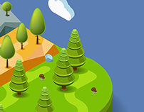 Flat 3D natural landscape vector