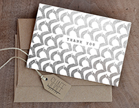 Typographic pattern thank you card set