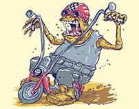 Monster On Bike Free Vector