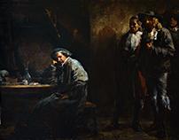 Rembrandt in his studio